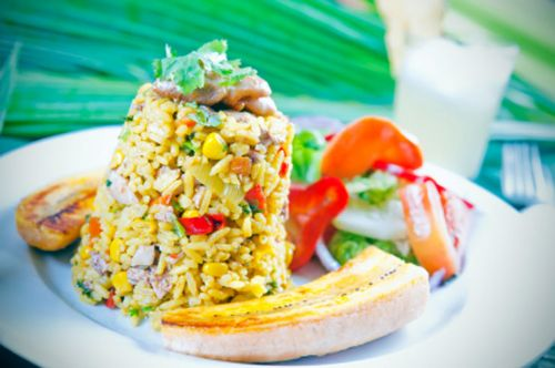Typical Costa Rican Arroz con Pollo (chicken rice)