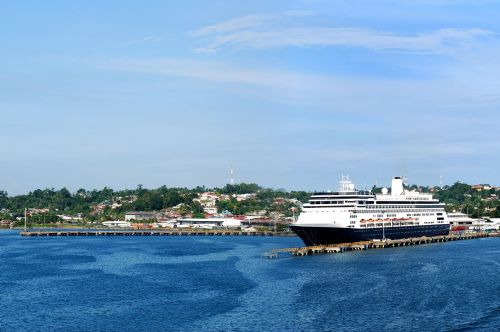 Cruise ship docked in Puerto Limon
