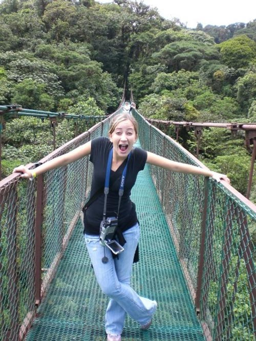 Daniela on a canopy bridge in Monteverde